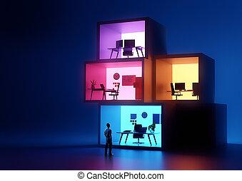 glühen, gestapelt, geschäftsbüro, arbeitsplätze