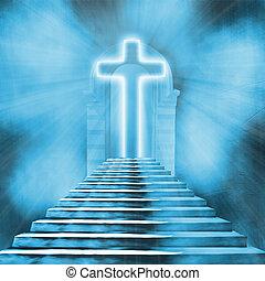glühen, heilig, kreuz, und, treppenaufgang, führen, zu,...