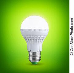 glühen, leuchtdiode, zwiebel, auf, grüner hintergrund