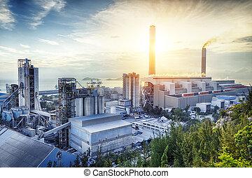 glühen, licht, von, petrochemische industrie, auf, sunset.