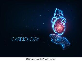 glühen, polygonal, hand, menschliche , zukunftsidee, herz, organ, besitz, kardiologie, begriff, hologramm, niedrig