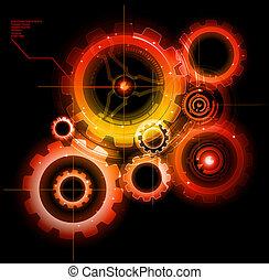 glühen, techno, zahnräder