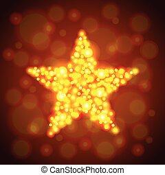 glühen, vektor, stern, gold, hintergrund