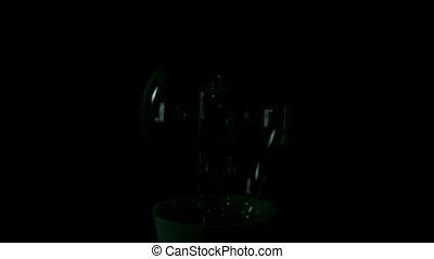 glühlampe, drehen, auf, schwarz, zurück