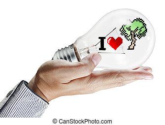 glühlampe, in, hand