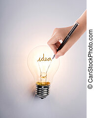 glühlampe, mit, hand, zeichnung, idee