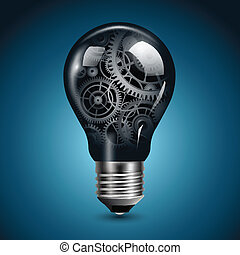 glühlampe, mit, zahnräder
