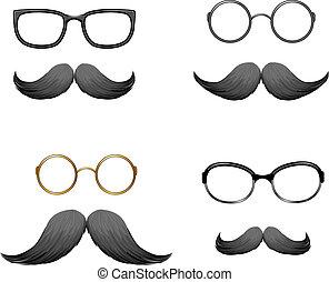 gl, divertente, set, maschere, (mustache