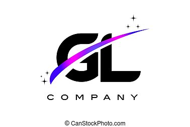 GL G L Black Letter Logo Design with Purple Magenta Swoosh...