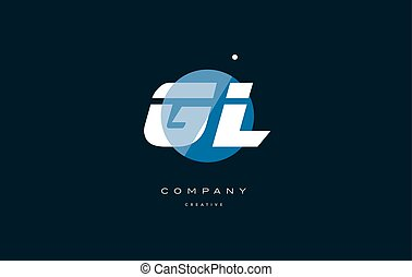 gl g l blue white circle big font alphabet company letter...