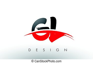 GL G L Brush Logo Letters with Red and Black Swoosh Brush...