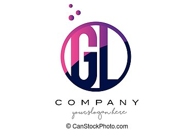 GL G L Circle Letter Logo Design with Purple Dots Bubbles -...