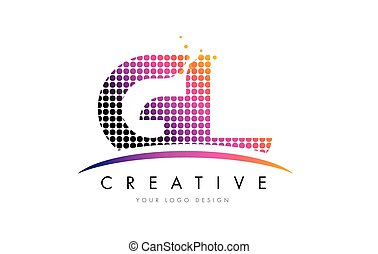 GL G L Letter Logo Design with Magenta Dots and Swoosh - GL...