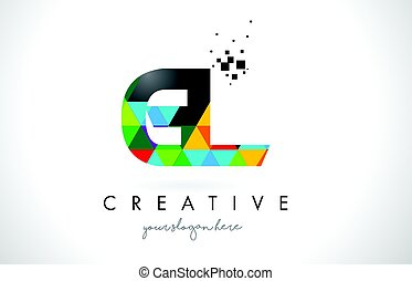 GL G L Letter Logo with Colorful Triangles Texture Design...