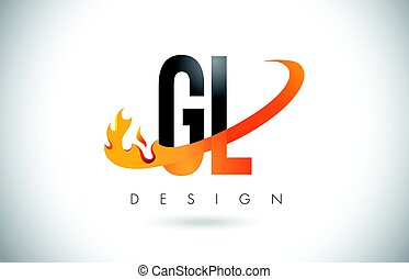 GL G L Letter Logo with Fire Flames Design and Orange...