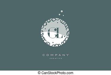 gl g l monogram floral green alphabet company letter logo -...