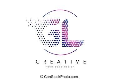 GL G L Pink Magenta Dotted Bubble Letter Logo Design Vector...