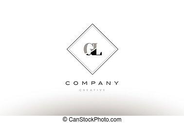 gl g l retro vintage black white alphabet letter logo - gl g...