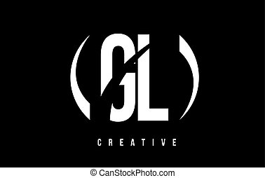 GL G L White Letter Logo Design with Black Background. - GL...
