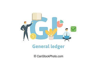 GL, General Ledger. Concept with keywords, letters and icons. Flat vector illustration. Isolated on white background.
