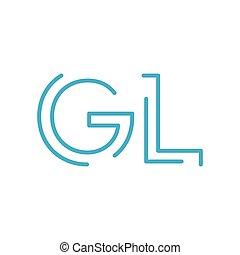 GL initial letter logo gl, lg, Blue graphic element for...