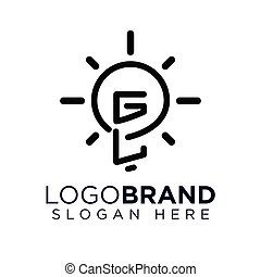GL Initial Letter with creative bulb Logo vector