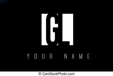 GL Letter Logo With Black and White Negative Space Design. -...