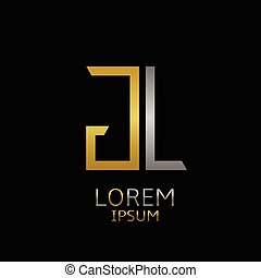 GL letters logo - Golden G and silver L letters logo...