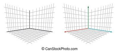 gl, proyección, eje, matriz, vector, perspectiva, abierto, ...