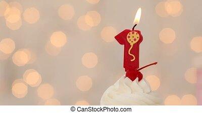 glaçage, premier, anniversaire, petit gâteau, buttercream