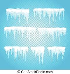 glaçon, neige, éléments, casquette, clipart., différent, arrière-plan.