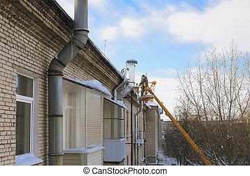 glaçon, toit, déménagement