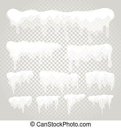 glaçon, vecteur, transparent, neige, éléments, casquette, différent, arrière-plan.