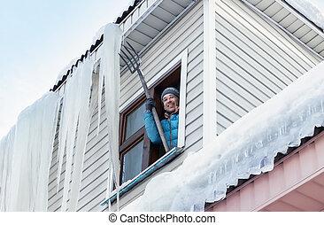 glaçons, neige, toit, déménagement