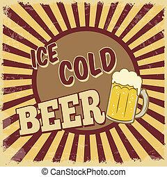 glace, bière, froid, affiche