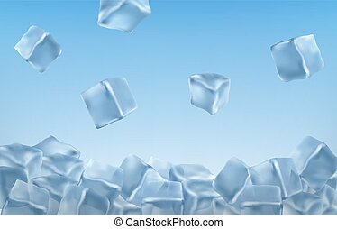 glace, bleu, vecteur, cubes, colors., illustration