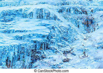 glace bleue, texture, rocher