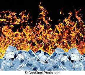 glace, brûlé, cube