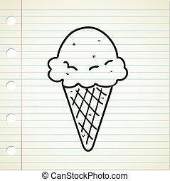 glace, cône, crème