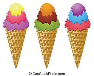 glace, cônes, coloré