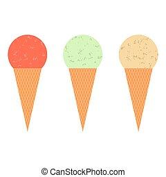 glace, cônes, crème, ensemble