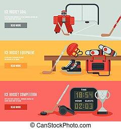 glace, ensemble, bannières, hockey