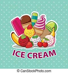 glace, ensemble, crème