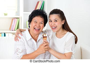 glace, famille, crème, manger