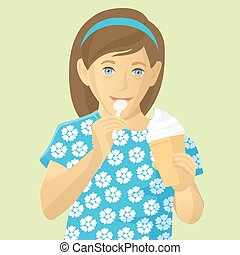 glace, girl, vecteur, manger