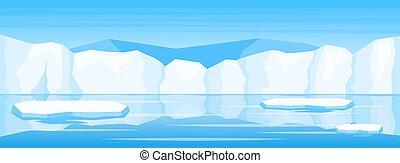 glace hiver, arctique, paysage