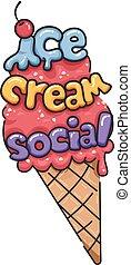 glace, illustration, crème, social