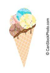 glace, isolé, illustration, vecteur, white., crème