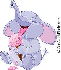 glace, manger, crème, éléphant