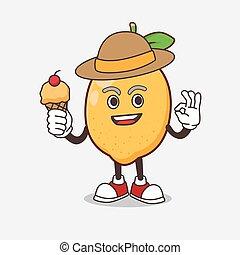 glace, mascotte, citron, tenue, fruit, dessin animé, caractère, crème